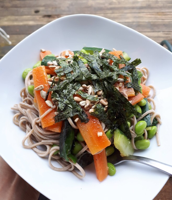 Vegan Recipe: Warm Buckwheat Soba Noodle Salad